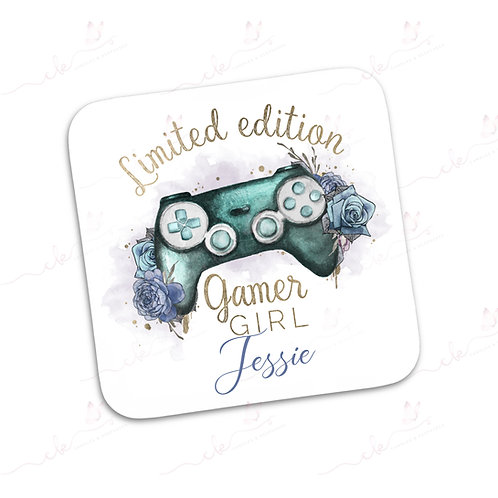 Personalised Coaster - Limited Edition Gamer Girl - Turquoise