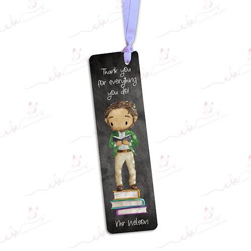 Personalised Bookmark - Male Teacher - Blackboard Design