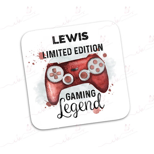 Personalised Coaster - Limited Edition Gaming Legend Design - Red