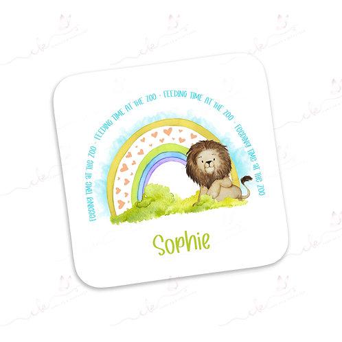 Personalised Coaster - Safari Feeding Time at the Zoo Design - Lion