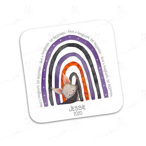 Personalised Coaster - Rainbow Halloween Bat - 1st Halloween
