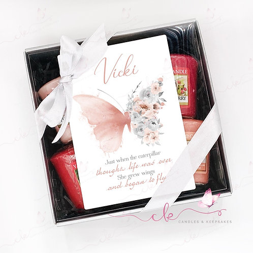 Personalised Yankee Candle Votive Gift Set - Pink Butterfly - ANY MESSAGE