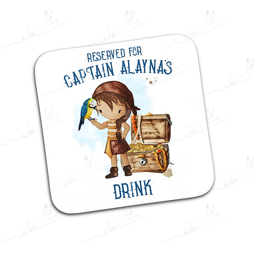 Personalised Coaster - Pirate Design - Girl