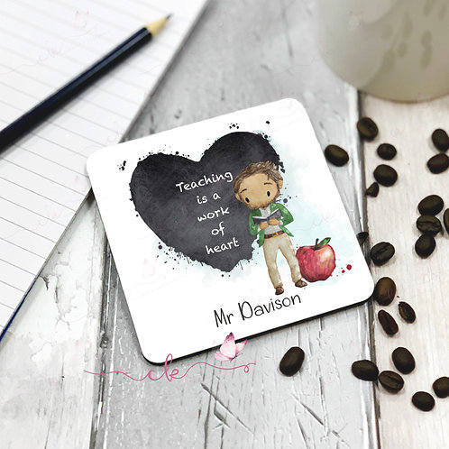 Personalised Coaster - Male Teacher - Heart Design