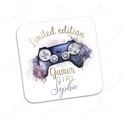 Personalised Coaster - Limited Edition Gamer Girl - Purple