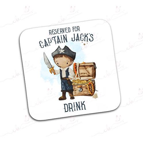 Personalised Coaster - Pirate Design - Boy