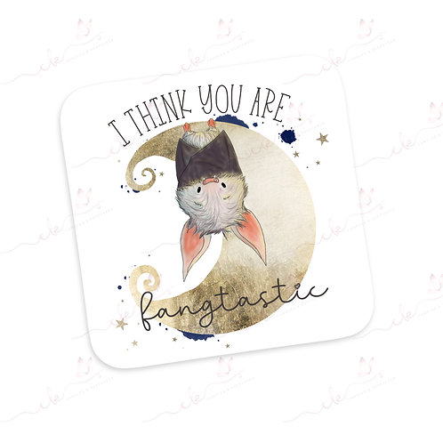 Personalised Coaster - Halloween Bat - I Think You Are Fangtastic