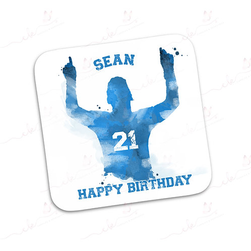 Personalised Coaster - Footballer Design - Blue