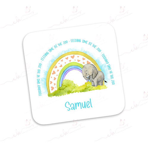 Personalised Coaster - Safari Feeding Time at the Zoo Design - Elephant