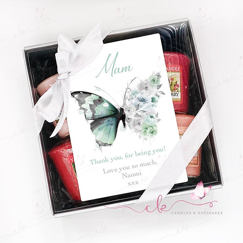 Personalised Yankee Candle Votive Gift Set - Green Butterfly - ANY MESSAGE