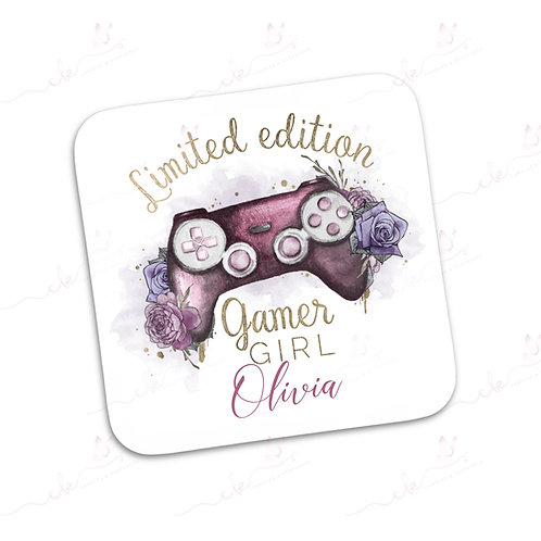 Personalised Coaster - Limited Edition Gamer Girl - Pink