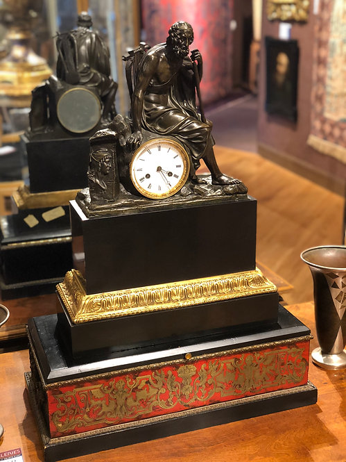 Antique French Bronze & Granite Signed Beyerle Clock