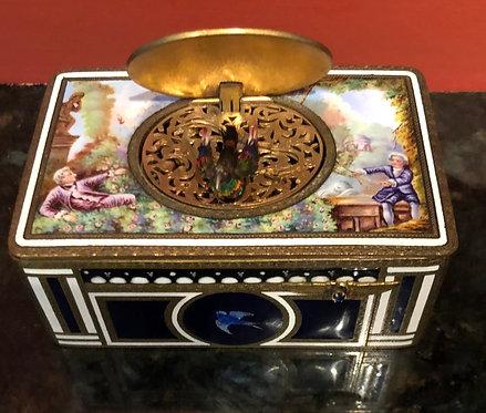 Antique Silver, Gold Enameled European Music Box