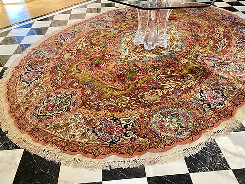 "9'4""X13'9"" Very Fine Silk & Wool Persian Tabriz"