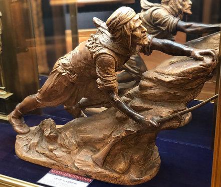 Arab Warrior in Terra Cotta By: Emile Coriolan Hippolyte Guillemin