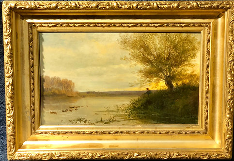 """""""Fishing at Sunset"""" By: Jules Charles Rozier"""