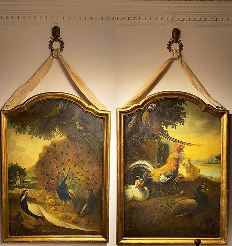 "Marmaduke Craddock (British, 1660-1716)  ""Pair of Peacocks in an Aviary Park"""