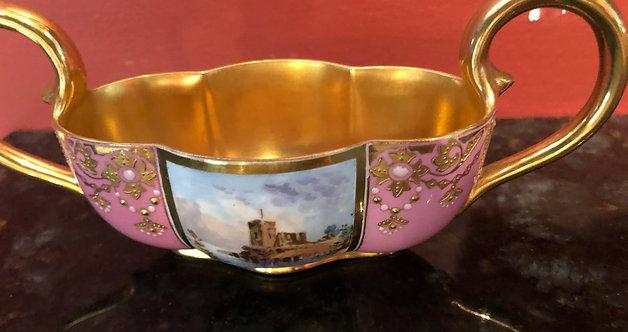 Antique Gilt European Enameled Two Handled Bowl