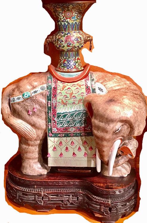 FINELY ENAMELED ANTIQUE CHINESE CAPARISONED ELEPHANT
