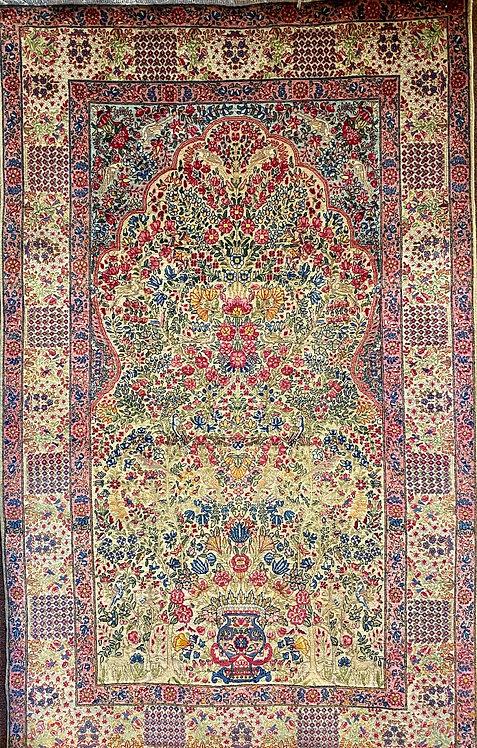 "4'7""X7'5"" Antique Persian Lavar Kerman"