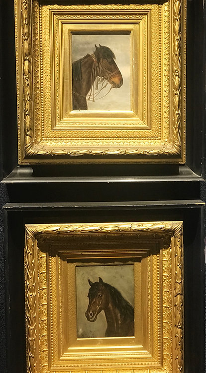 Pair of Horse Portraits by Henrich Lang