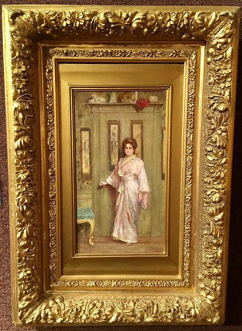 ARISTOCRATIC LADY IN PINK ROBE SIGNED C. E. COOKMAN