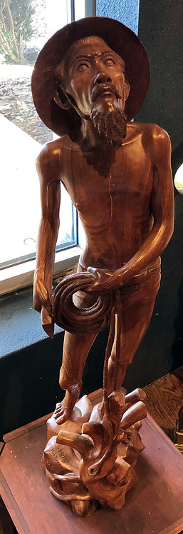 Antique Fisherman Wood Carving