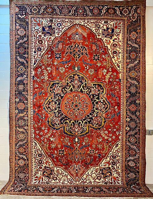 """9'7""""X14'4"""" Antique Persian Heriz Rug"""