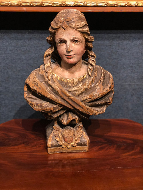 17th Century Polychrome Bust of Virgin Mary, French