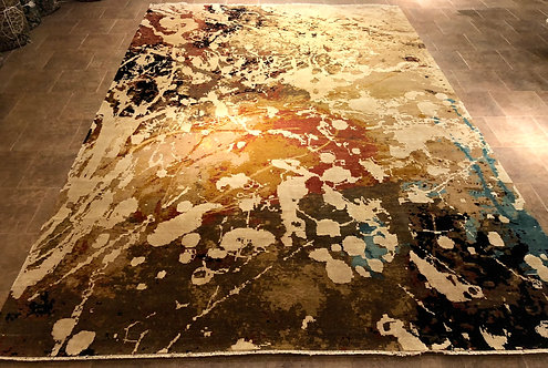 10'X14' Wool and Silk Blend Contemporary Drip Art Rug