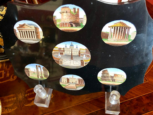 Antique Italian Micro-Mosaic Plaque 7 Wonders of Rome
