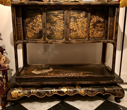 19th Century Meiji Japanese Lacquered Inlay Altar Table, Flying Cranes