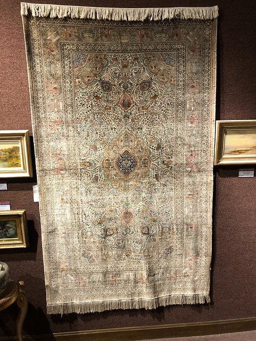 """4'10""""X8' Very Fine Silk on Silk Persian Silk Quom"""