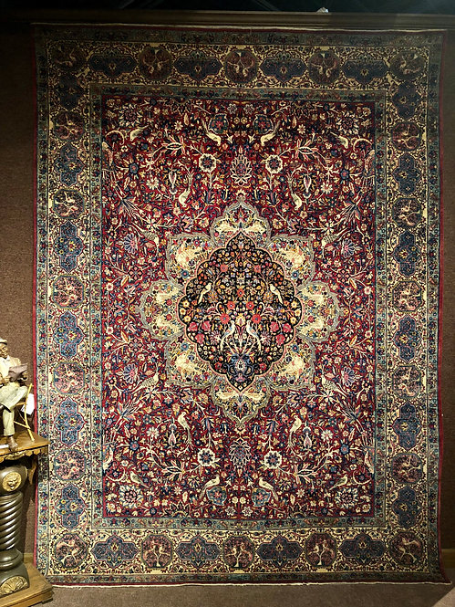 9'X12' Antique Red Lavar Persian Kerman