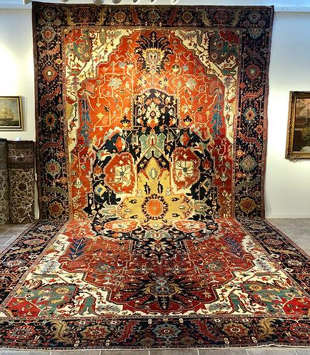 Antique Blue & Rust Persian Serapi rugs