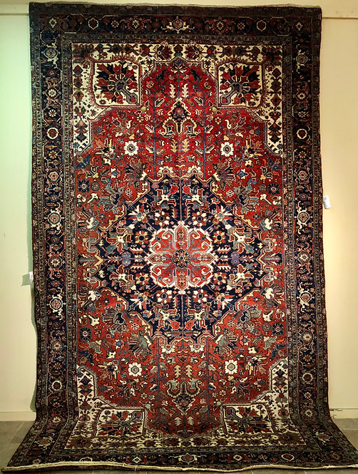 "9'2""X15'10"" Red Semi-Antique Persian Heriz"