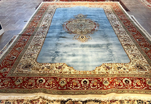 "13'2""X19'5"" Semi-Antique Persian Blue Tabriz"