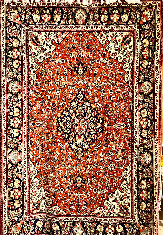 """3'6""""x5'3"""" Persian Red & Navy Quom"""