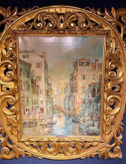 Antique Venetian Landscape Signed Curter