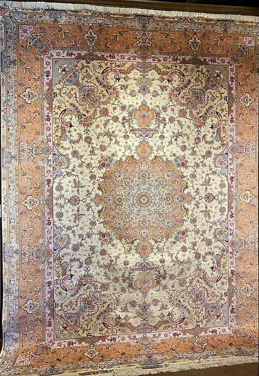 "9'7""X13'5"" Very Fine Persian Silk & Wool Tabriz"