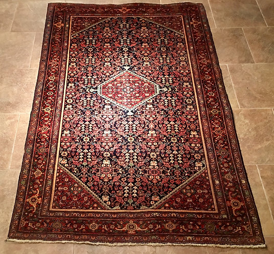 "6'5"" X 4'2"" ANTIQUE BLUE PERSIAN FEREGHAN SAROUK"