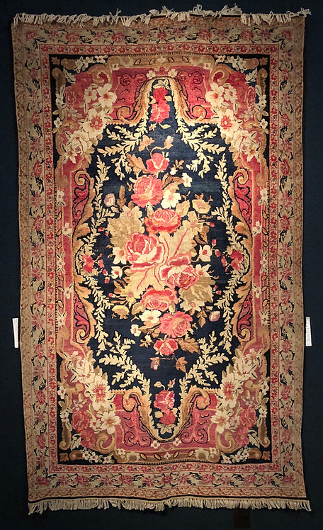"4'6""X6'11"" Antique Lavar Kerman French Aubusson Rug"