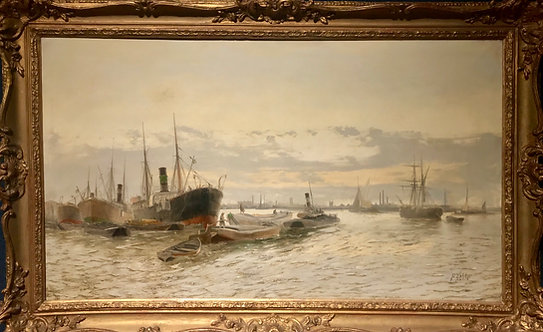 Ships in the Bay by Edwin Henry Eugene Fletcher