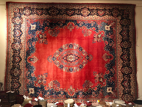 "12'2""x14'9"" Semi-Antique Rose Jozan Persian Sarouk"