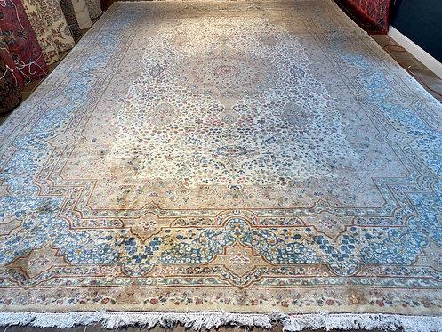 """14'3""""X21'4"""" Antique Ivory Atiya Persian Kerman"""