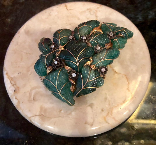 Antique Large Emeraled Broach Mounted with Diamonds and Reticulated Gold