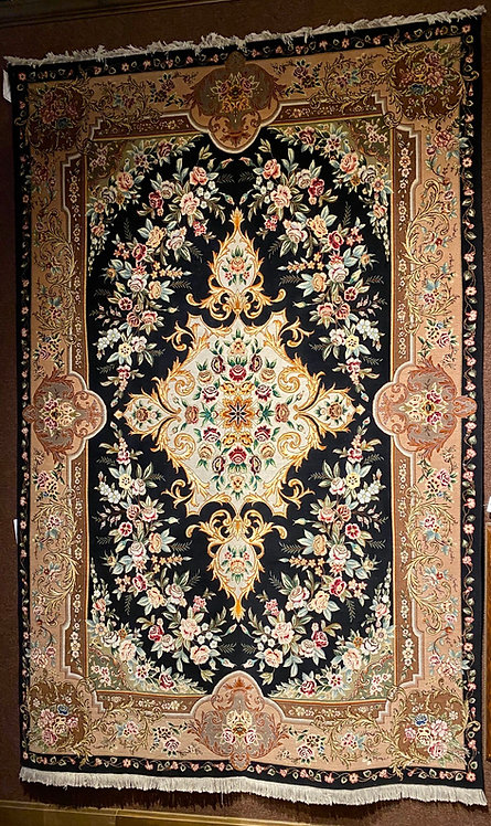 "6'7""X10'3"" Persian Silk and Wool Black Tabriz"