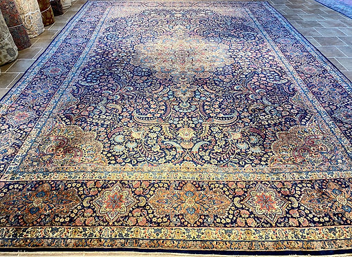 """13'4""""X19'7""""Antique Persian Blue Kerman Rug"""