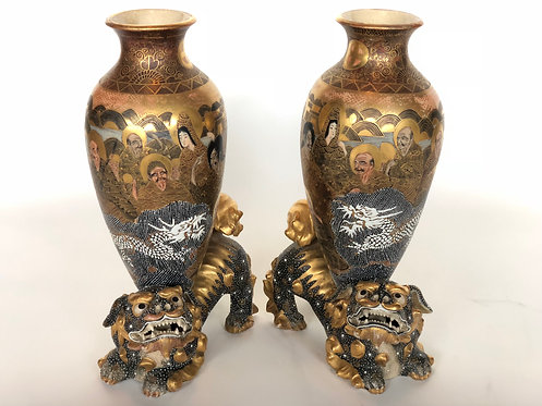 PAIR OF ANTIQUE JAPANESE SATSUMA ENAMELED LARGE VASES ON FOO DOGS