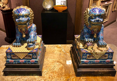 Antique Chinese Cloisonné Foo Dogs